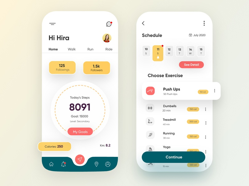 Fitness Mobile Application-UX/UI Design webdesign exercise topdesigner poppulardesigner productdesigner mobileui uxui banner fitness illustration hira mobile ui minimal dubai designer creative concept adobe xd mobile app design 2020 clean