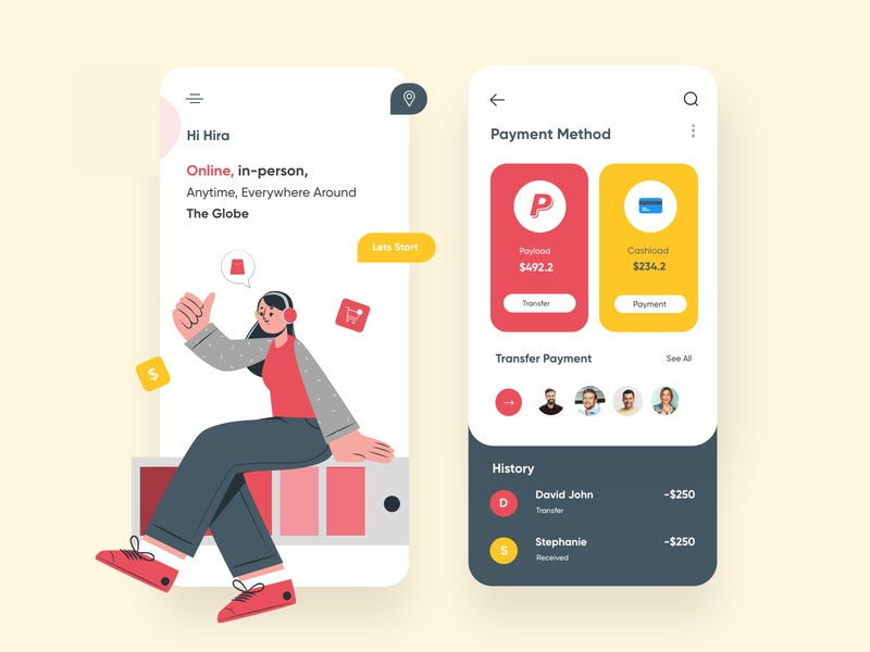 Mobile application for Online Payments-UX/UI Design banking onlinepayment mobile mobileapp uxui productdesign webdesign branding illustration hira mobile ui minimal dubai designer creative concept adobe xd mobile app design 2020 clean