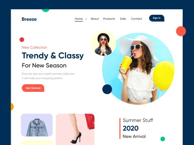 Trendy shopping Landing Page/website-UX/UI Design ui design ux ui design web design design web website design websitedesign landing page design websites website concept landingpage website webdesign clean
