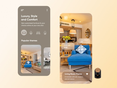 Home Theme Mobile Applicatipn-UX/UI Design sofaset webdesign productdesign branding hometheme homeapp furnitureapp furniture uxui illustration hira mobile ui minimal dubai designer creative concept adobe xd mobile app design 2020 clean