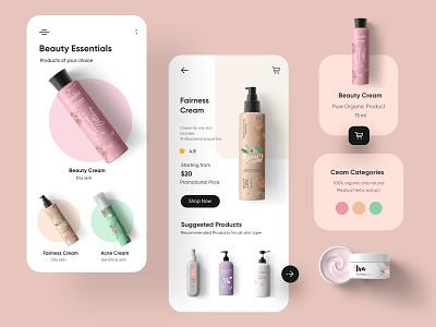 Organic Beauty products Mobile Application-UX/UI Design app ux uiux ui interface mobileappdesign mobileapp ui design mobile mobile ui minimal mobile app