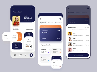 Banking Mobile Application-UX/UI Design mobileapp mobile mobile apps mobile application app interface uiux ui ux mobile app design mobileappdesign illustration mobile ui minimal mobile app