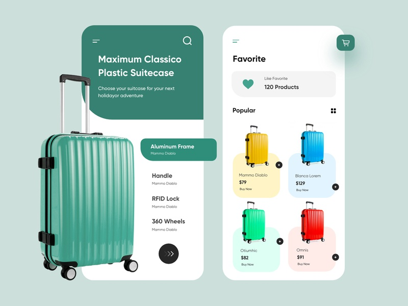 Luggage/Suitcase Store Mobile application-UX/UI Design webdesign topdesigner icons productdesign branding design suitcase bagstore bags luggage illustration hira mobile ui dubai designer concept minimal creative adobe xd mobile app design 2020 clean