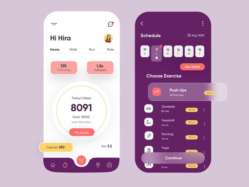 Fitness Mobile Application-UX/UI Design illustrations typography mobile fitnessapp exersiceapp icons porductdesign webdesign branding illustration hira mobile ui dubai designer concept minimal creative adobe xd mobile app design 2020 clean