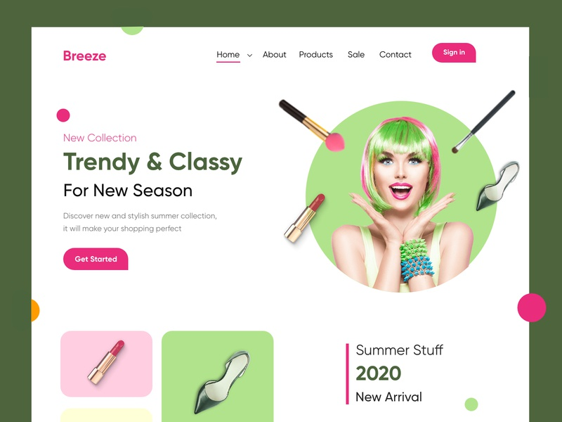 Trendy shopping Landing Page/website-UX/UI Design colous typography mobile productdesign webdesign branding cosmetics makeup shopping illustration hira mobile ui dubai designer concept minimal creative adobe xd mobile app design 2020 clean