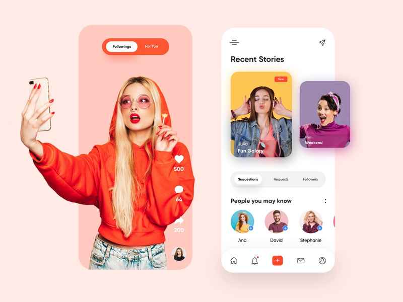Social Media Mobile App-UX/UI Design productdesign topdesigner icons colours insta fb tiktok socialapp socialmedia webdesign hira mobile ui dubai designer concept minimal creative adobe xd mobile app design 2020 clean
