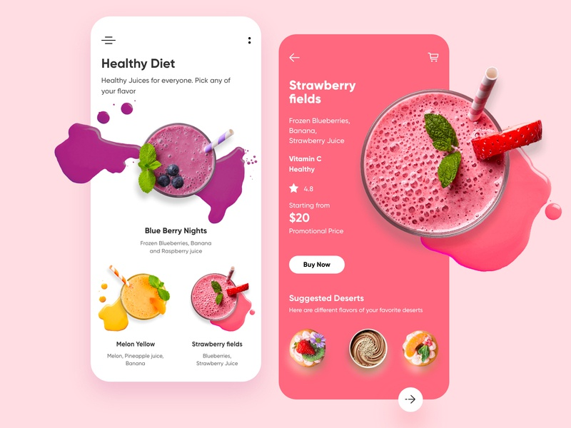 Dessert Restaurant Mobile app-UX/UI Design illustration typography food hotel restaurant juices webdesigns productdesign webdesign branding hira mobile ui dubai designer concept minimal creative adobe xd mobile app design 2020 clean