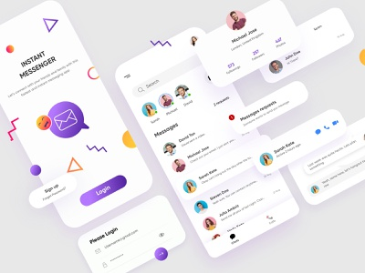 Messanger Mobile Application-UX/UI Design messages inbox chatbox messanger typography illustrations mobile productdesign webdesign branding illustration mobile ui dubai designer concept mobile app minimal creative adobe xd design 2020 clean