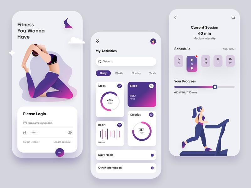 Fitness Mobile Application-UX/UI Design healthydiet fitnessapp webdesign productdesign typography design mobile topdesigner branding hira illustration mobile ui dubai designer concept mobile app minimal creative adobe xd design 2020 clean