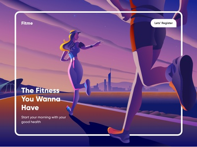Fitness Landing Page-UX/UI Design fitnessapp exercise mobileui webdesign productpage running landingpage fitness illustrations branding illustration mobile ui concept dubai designer mobile app minimal creative adobe xd design 2020 clean