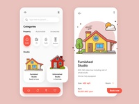 Property Mobile Application-UX/UI Designer houseapp hometheme uxui design mobileui uxui topdesigner productdesign webdesign branding concept illustration hira mobile ui minimal mobile app dubai designer creative adobe xd design 2020 clean