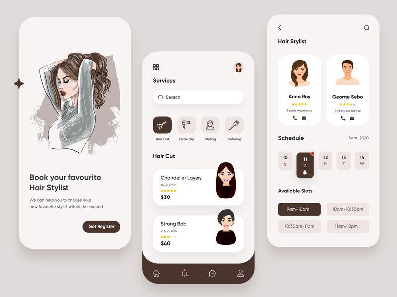 Hair Stylist Mobile App-UX/UI Design trending modernui illustrations mobileapplication mobileui uxuidesign productdesign uxui salon hairstylist illustration mobile ui concept dubai designer mobile app minimal creative adobe xd design 2020 clean