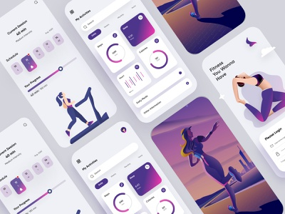 Fitness Mobile Application-UX/UI Design chats web apps web webdesign websites productdesign uielements fitnessapp fitness branding illustration mobile ui concept dubai designer mobile app minimal creative adobe xd design 2020 clean