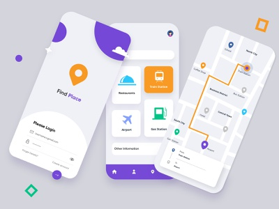Place Finder Mobile Application-UX/UI Designer mobile icons mobileapplication findplace location mobileui mobileapp place finder uxui branding illustration mobile ui concept dubai designer minimal mobile app creative adobe xd design 2020 clean