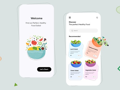Healthy Food Salad Mobile App-UX/UI Design mobile app uidesign minimal mobile uiux design mobileapps mobileui mobileapp mobileappdesign app interface uiuxdesign uiux ux