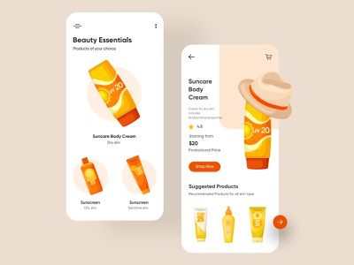 Beauty products Mobile Application-UX/UI Design mobile app ui design minimal mobile uiux design mobileapps mobile ui mobileapp mobileappdesign app interface ui uiux ux