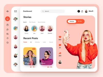 Social Media Dashboard -UX/UI Design design admin app dashboard finance financial interface uxui uiux ux