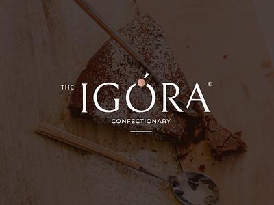 Logo for  confectionary store minimalistic dessert food restaurant logomaker identity branding logotype logo