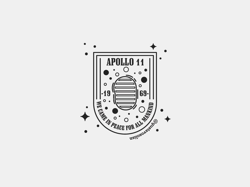 - Apollo 11 - illustration badgedesign moon footprint flatdesign chile venezuela badge apollo 11 nasa