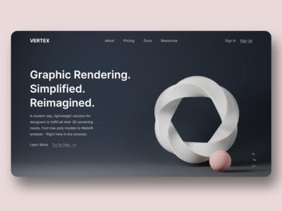 Vertex - Landing Page blender xd adobe render 3d ux ui web website design