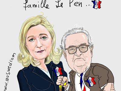 Le Pen famille digitalart logo watercolor illustration cartoon illustration caricatura artwork caricature artist cartoon