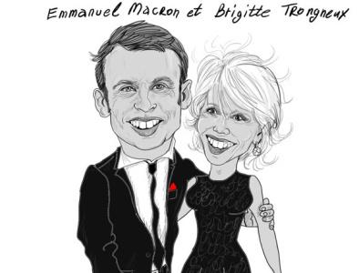 French president with wife cartoonist portrait digital illustration illustration artwork digitalart cartoon illustration caricature artist cartoon paris