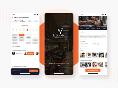 Ekan Barbershop App creative design design app ui design ux branding modern app design figma uxui minimal appointment booking app salon barbershop mobile app ui