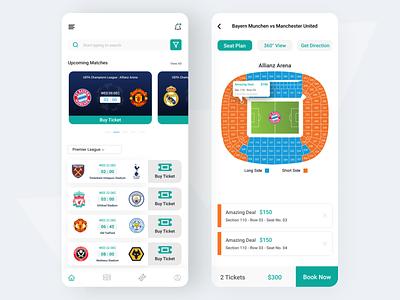 Football Stadium Ticket Buying App ticket football app ux uidesign ui uiux minimal booking app mobile app figma design app design app