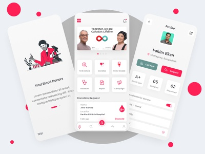Blood Donor App Concept 2021 trend blood donation ux uiux uidesign ui figma mobile app design app design app