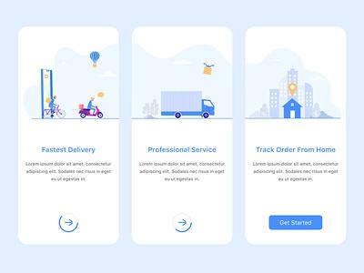 Delivery App Onboarding Screens branding uidesign illustration onboarding 2021 trend figma uiux ui mobile app app design app