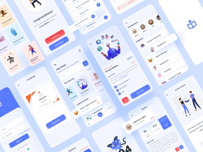 Shikhbo - Online Course App UI Kit branding figma uiux mobile app app design app ui