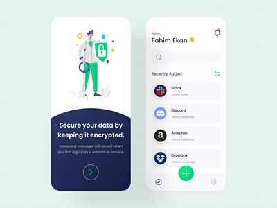 Password Manager App UI uidesign mobile app uiux app design branding ui