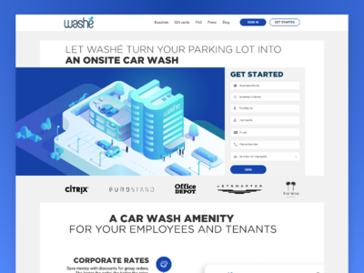 Washé Business onsite landing page business landing page washe business