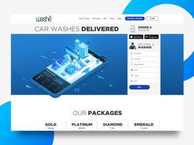 Washe.io app ui ui hero website on demand car wash app illustration landing page