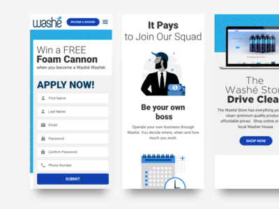 Washé Become A Washer apply form ui mobile website registration ui mobile ui website mobile ui