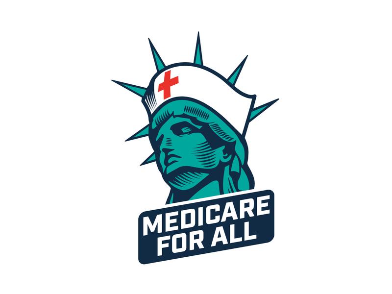 Medicare for all logo concept vector illustration logotype iconic covid-19 covid19 healthcare nurse statue of liberty m4a logo