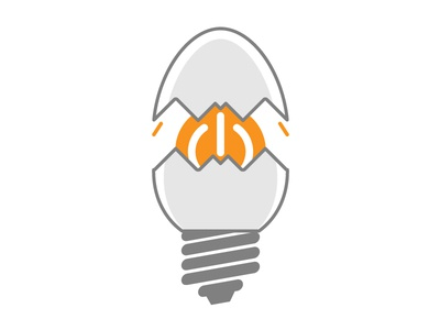 Fictional Logo for startup internet flat minimalistic concept vector icon power light bulb egg startup