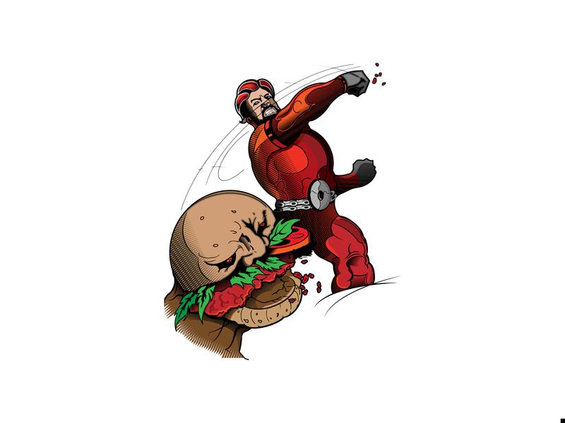 Untitled Illustration comic book art hamburger ecoli drawing vector hero villain comic book comic