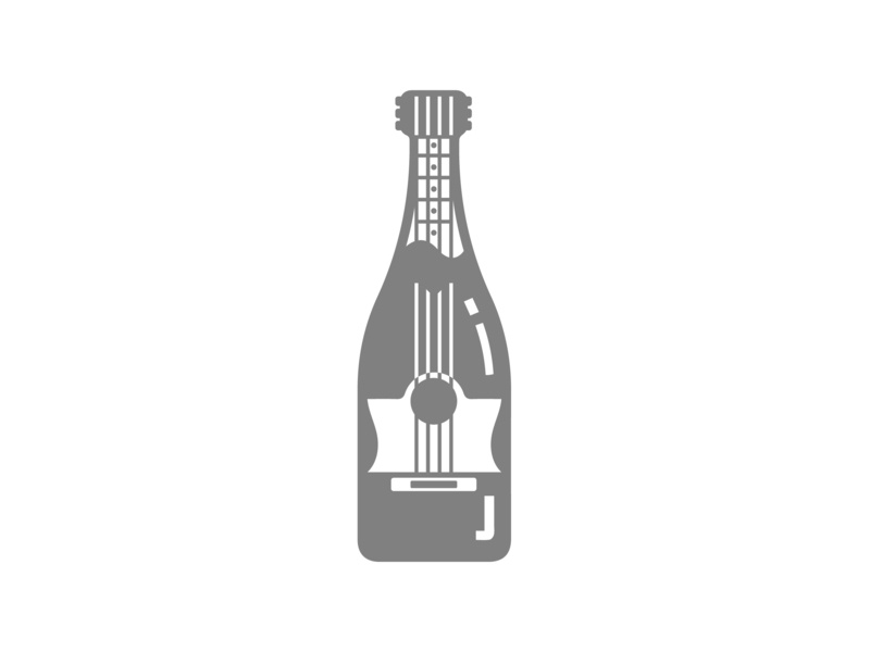 Wine and Music bottle guitar simple design graphic event mashup lineart vector icon wine music