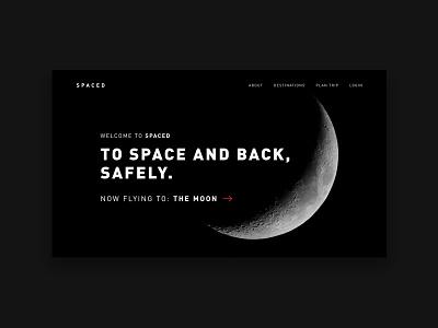 SPACED ux design ui design ux ui homepage web design design planet moon spaced space spacedchallenge