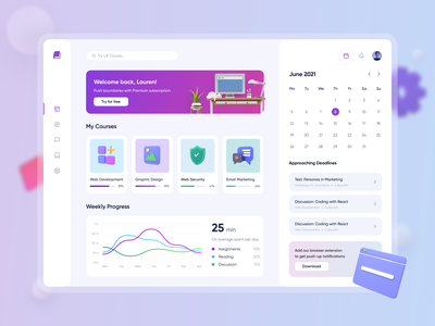 Educational Dashboard teaching learning app school learning online education course statistics calendar analytics chart graph homepage gradient 3d education platform dashboard education design ux ui
