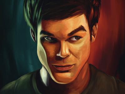 Darkly Dreaming Dexter illustration drawing digital painting dexter dexter morgan concept sketch portrait caricature face evil character