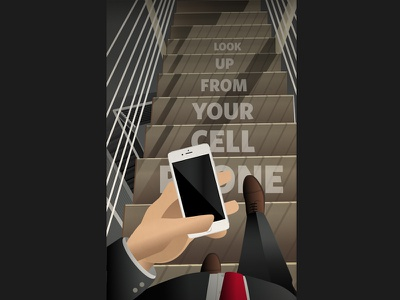 Look Up From Your Phone (Art Deco Safety Poster) distracted perspective stairs man iphone phone concept art poster design art deco illustration poster safety