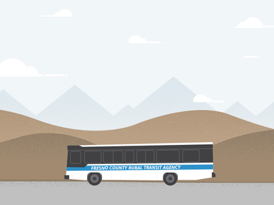Illustrated animated hero hundred10 fresno website hills mountains silhouette grit grain transit bus hero illustration