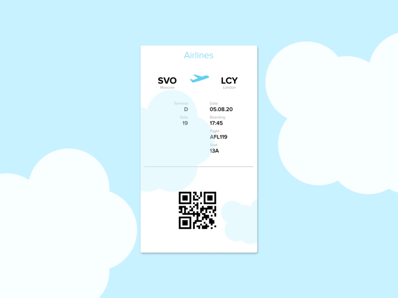 Daily UI 024, Boarding pass mobile design dailyui ux ui figma