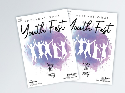 Watercolor youth Fest Flyer watercolor illustration watercolour watercolor watercolor art typography vector poster design poster illustration design
