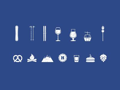 HOPS Icons outdoors ski hops bar qsr food iconography craft beer beer