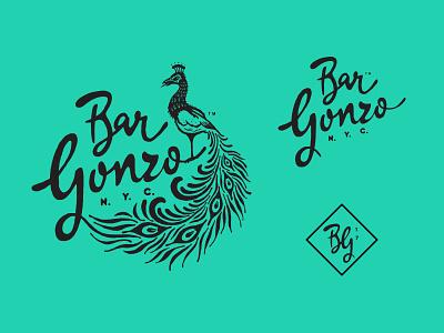 Bar Gonzo drinks food simmer bird illustration peacock nyc restaurant bar gonzo