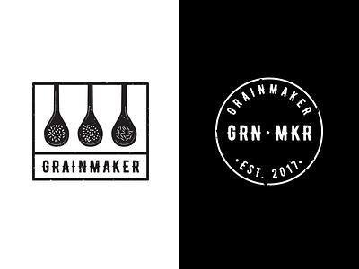 Grainmaker Logos stamp spoons badge nyc qsr food restaurant asian rice boston grain