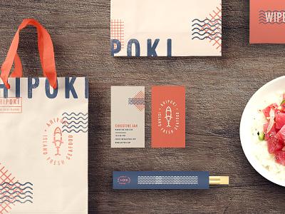 Ahi Collateral seafood ahi chopsticks nyc california badge business cards bags fish restaurant poke
